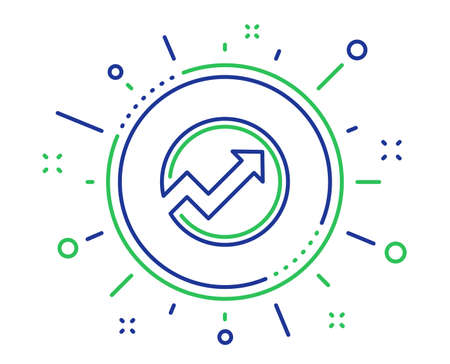 Chart line icon. Report graph or Sales growth sign in circle. Analysis and Statistics data symbol. Quality design elements. Technology audit button. Editable stroke. Vector