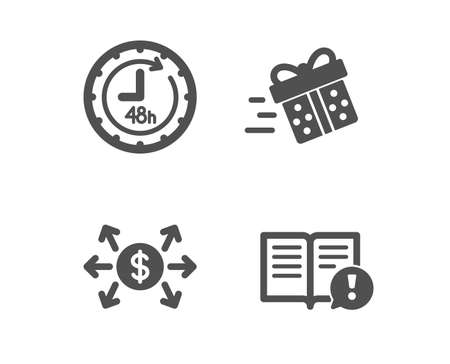 Set of Present delivery, 48 hours and Dollar exchange icons. Facts sign. Shopping service, Delivery service, Payment. Important information.  Classic design present delivery icon. Flat design. Vector