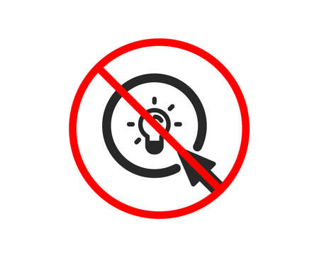 No or Stop. Idea lamp icon. Mouse cursor sign. Light bulb symbol. Prohibited ban stop symbol. No energy icon. Vector