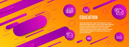 Header banner. New mail, Engineering documentation and Dot plot icons simple set. Bitcoin chart, Receive mail and Growth chart signs. Received e-mail, Manual. Education set. Line new mail icon Ilustrace