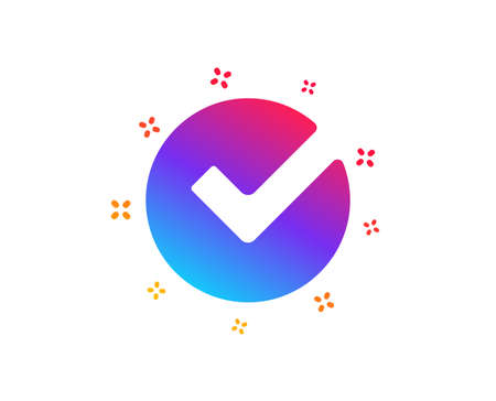 Check icon. Approved Tick sign. Confirm, Done or Accept symbol. Dynamic shapes. Gradient design verify icon. Classic style. Vector Illusztráció