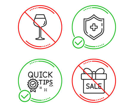 Do or Stop. Medical shield, Bordeaux glass and Quick tips icons simple set. Sale offer sign. Medicine protection, Wine glass, Helpful tricks. Gift box. Line medical shield do icon. Prohibited ban stop 向量圖像