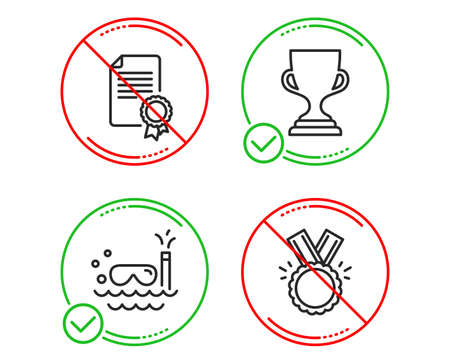 Do or Stop. Award cup, Scuba diving and Certificate icons simple set. Honor sign. Trophy, Trip swimming, Diploma. Medal. Sports set. Line award cup do icon. Prohibited ban stop. Good or bad. Vector