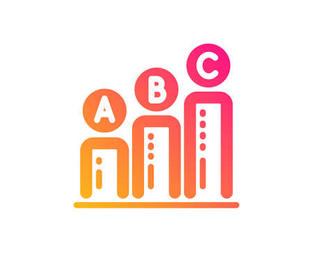 Graph icon. Column chart sign. Ab test diagram symbol. Classic flat style. Gradient graph chart icon. Vector  イラスト・ベクター素材