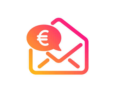 Euro via mail icon. Send or receive money sign. Classic flat style. Gradient euro money icon. Vector Illustration