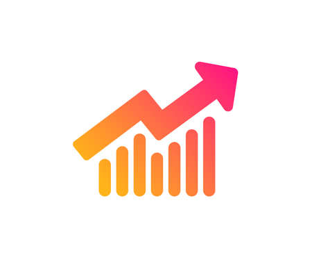 Chart icon. Report graph or Sales growth sign. Analysis and Statistics data symbol. Classic flat style. Gradient demand curve icon. Vector