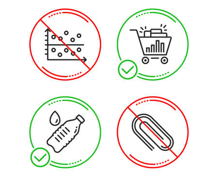 Do or Stop. Water bottle, Seo shopping and Dot plot icons simple set. Paper clip sign. Still drink, Analytics, Presentation graph. Attach paperclip. Line water bottle do icon. Prohibited ban stop Illusztráció