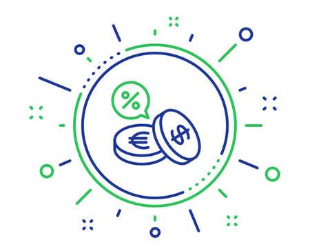 Münzen Geld Symbol Leitung. Banking-Währungszeichen. Euro- und Dollar-Bargeldsymbole. Cashback-Service. Hochwertige Designelemente. Technologie-Wechselschaltfläche. Bearbeitbarer Strich. Vektor