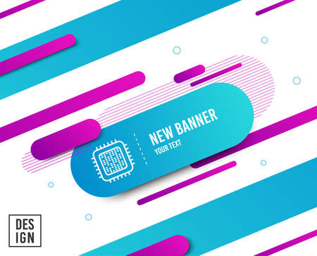 Cpu processor line icon. Computer component sign. Diagonal abstract banner. Linear cpu processor icon. Geometric line shapes. Vector Illustration