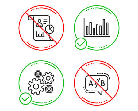 Do or Stop. Bar diagram, Report and Cogwheel icons simple set. Ab testing sign. Statistics infochart, Work statistics, Engineering tool. Test chat. Science set. Line bar diagram do icon. Vector Illustration