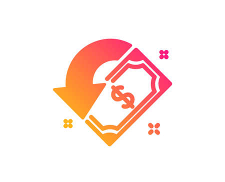 Cashback icon. Send or receive money sign. Classic flat style. Gradient cashback icon. Vector