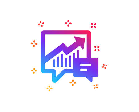 Chart icon. Report graph or Sales growth sign in speech bubble. Analysis and Statistics data symbol. Dynamic shapes. Gradient design accounting icon. Classic style. Vector Çizim