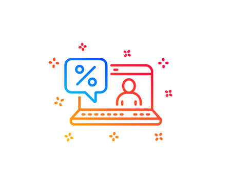 Online loan percent line icon. Discount sign. Credit percentage symbol. Gradient design elements. Linear online loan icon. Random shapes. Vector  イラスト・ベクター素材