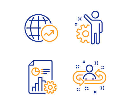World statistics, Report and Employee icons simple set. Recruitment sign. Global report, Presentation document, Cogwheel. Manager change. Linear world statistics icon. Colorful design set. Vector Illustration