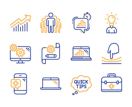 Elastic, Quick tips and Medical phone icons simple set. Cogwheel blueprint, Demand curve and Settings signs. Laptop, Statistics timer and Group symbols. Education, Graph laptop and First aid. Vector