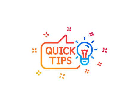 Quick tips line icon. Helpful tricks sign. Tutorials with idea symbol. Gradient design elements. Linear education idea icon. Random shapes. Vector