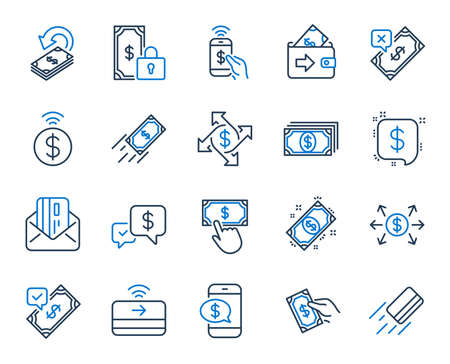Payment wallet line icons. Set of Accept money transfer, Pay with Phone and Credit card by mail icons. Online payment, Dollar exchange and Fast money send. Private pay, Cash and Wallet. Vector Stock Vector - 119597872