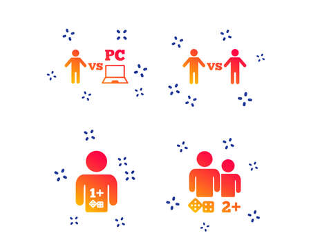 Gamer icons. Board and PC games players signs. Player vs PC symbol. Random dynamic shapes. Gradient game icon. Vector