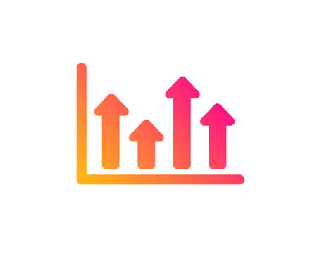 Growth chart icon. Financial graph sign. Upper Arrows symbol. Business investment. Classic flat style. Gradient upper arrows icon. Vector  イラスト・ベクター素材