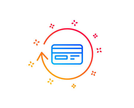 Credit card line icon. Banking Payment card sign. Cashback service symbol. Gradient design elements. Linear refund commission icon. Random shapes. Vector Illustration