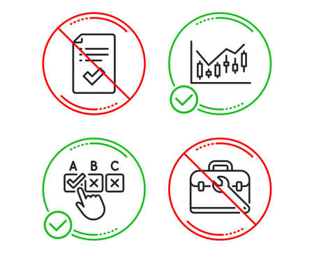 Do or Stop. Approved checklist, Correct checkbox and Financial diagram icons simple set. Tool case sign. Accepted message, Answer, Candlestick chart. Repair service. Line approved checklist do icon