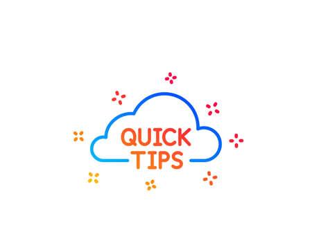 Icono de línea de nube de consejos rápidos. Signo de trucos útiles. Elementos de diseño degradado. Icono de consejos rápidos lineales. Formas aleatorias. Vector Ilustración de vector