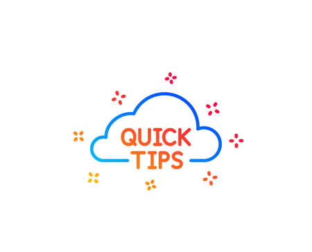 Quick tips cloud line icon. Helpful tricks sign. Gradient design elements. Linear quick tips icon. Random shapes. Vector Stock Illustratie