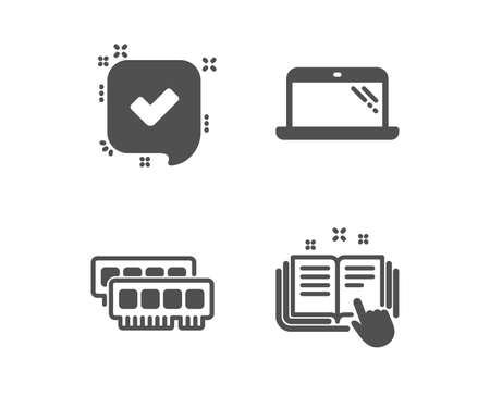 Set of Ram, Laptop and Confirmed icons. Technical documentation sign. Random-access memory, Computer, Accepted message. Manual.  Classic design ram icon. Flat design. Vector