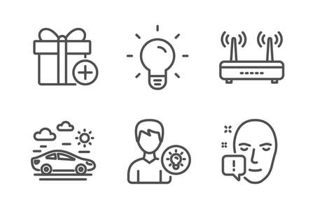 Light bulb, Wifi and Person idea icons simple set. Car travel, Add gift and Face attention signs. Lamp energy, Internet router. Business set. Line light bulb icon. Editable stroke. Vector