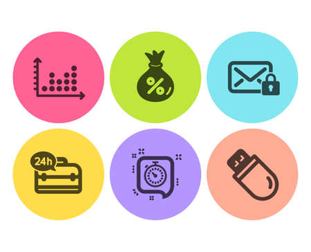 Dot plot, Timer and Secure mail icons simple set. Loan, 24h service and Usb stick signs. Presentation graph, Time management. Flat dot plot icon. Circle button. Vector Illustration