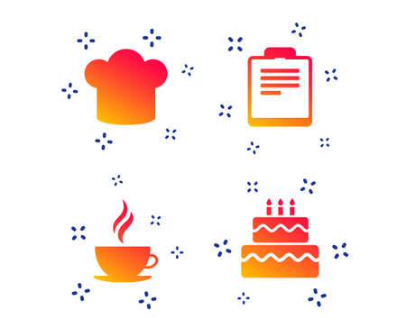 Coffee cup icon. Chef hat symbol. Birthday cake signs. Document file. Random dynamic shapes. Gradient restaurant icon. Vector