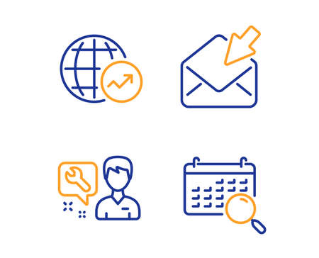 Open mail, Repairman and World statistics icons simple set. Search calendar sign. View e-mail, Repair service, Global report. Find date. Business set. Linear open mail icon. Colorful design set