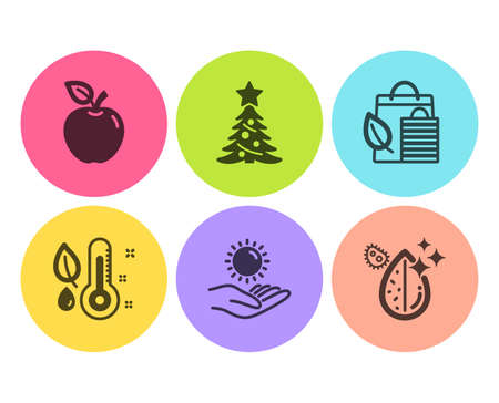 Bio shopping, Sun protection and Thermometer icons simple set. Christmas tree, Apple and Dirty water signs. Leaf, Ultraviolet care. Nature set. Flat bio shopping icon. Circle button. Vector