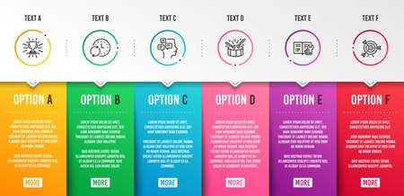 Update time, Messages and Trophy icons simple set. Engineering documentation, Drums and Target signs. Refresh clock, Notifications. Education set. Infographic template. 6 steps timeline. Vector Ilustrace