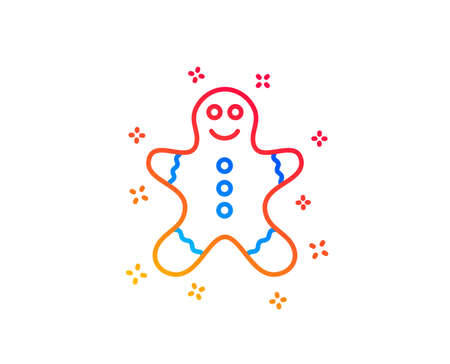 Gingerbread man line icon. Ginger cookie sign. Sweet holiday food symbol. Gradient design elements. Linear gingerbread man icon. Random shapes. Vector Standard-Bild - 124229332