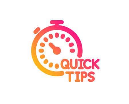 Icono de consejos rápidos. Signo de trucos útiles. Tutoriales con símbolo de temporizador. Estilo plano clásico. Icono de consejos rápidos de degradado. Vector