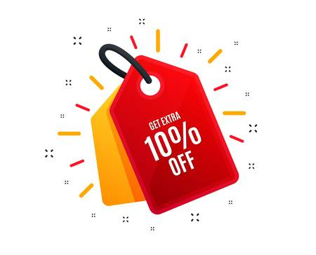 Sale tag. Get Extra 10% off Sale. Discount offer price sign. Special offer symbol. Save 10 percentages. Shopping banner. Market offer. Vector