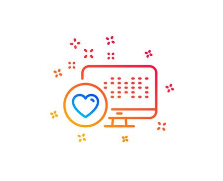 Heart line icon. Favorite like sign. Positive feedback symbol. Gradient design elements. Linear heart icon. Random shapes. Vector