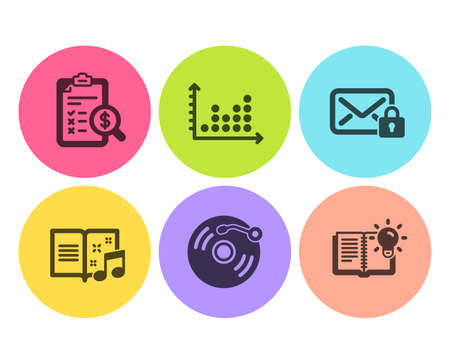 Accounting report, Vinyl record and Music book icons simple set. Dot plot, Secure mail and Product knowledge signs. Check finance, Retro music. Education set. Flat accounting report icon. Vector 向量圖像