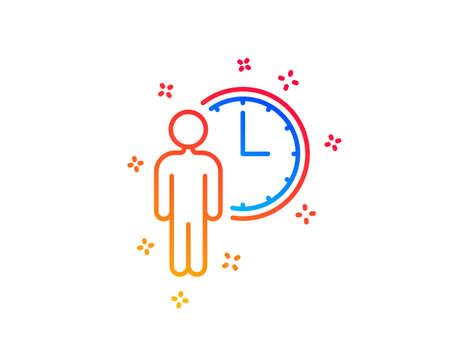 Icono de línea de espera de persona. Signo de tiempo de servicio. Símbolo del reloj. Elementos de diseño degradado. Icono de espera lineal. Formas aleatorias. Vector