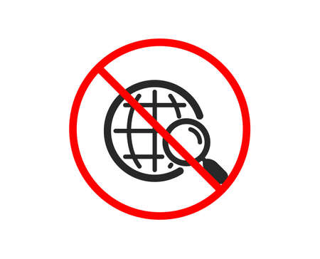 No or Stop. Web search icon. Find internet results sign. Prohibited ban stop symbol. No web search icon. Vector