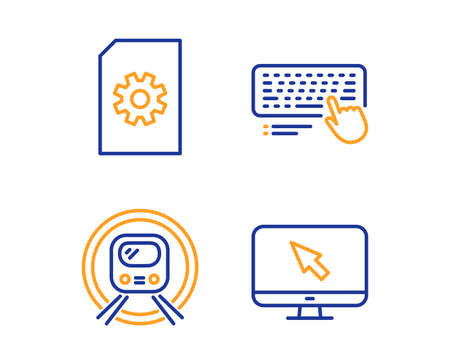 File management, Metro subway and Computer keyboard icons simple set. Internet sign. Doc with cogwheel, Underground, Pc device. Monitor with cursor. Technology set. Linear file management icon Illustration