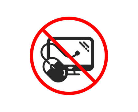 No or Stop. Computer icon. PC mouse component sign. Monitor symbol. Prohibited ban stop symbol. No computer mouse icon. Vector