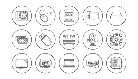 Computer device line icons. Motherboard, CPU and Laptop. SSD memory linear icon set. Line buttons with icon. Editable stroke. Vector 向量圖像