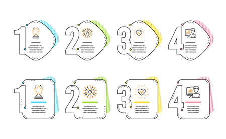 Herzschlag, künstliche Intelligenz und Gewinnersymbole einfach eingestellt. Schild der Präsentationstafel. Medizinisches Herz, Allsehendes Auge, Bester Stern. Wachstum Diagramm. Business-Set. Infografik-Zeitleiste. Linie Herzschlag-Symbol Vektorgrafik