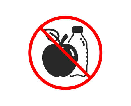 No or Stop. Apple icon. Fruit, water bottle sign. Natural food symbol. Prohibited ban stop symbol. No apple icon. Vector