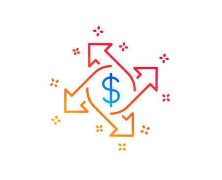 Payment exchange line icon. Dollar sign. Finance transfer symbol. Gradient design elements. Linear payment exchange icon. Random shapes. Vector