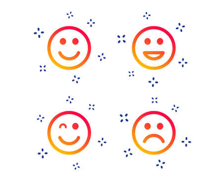 Smile icons. Happy, sad and wink faces symbol. Laughing lol smiley signs. Random dynamic shapes. Gradient smile icon. Vector
