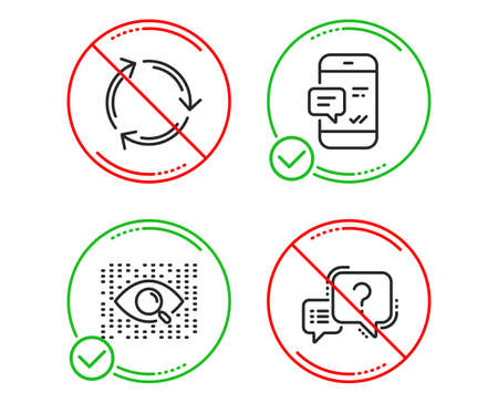 Do or Stop. Smartphone notification, Recycling and Artificial intelligence icons simple set. Question mark sign. Chat message, Reduce waste, Find data. Quiz chat. Technology set. Vector
