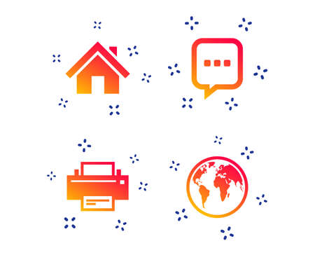 Home main page and globe icons. Printer and chat speech bubble with suspension points sign symbols. Random dynamic shapes. Gradient printer icon. Vector